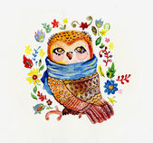 Watercolor Owl with Flowers — Stockfoto