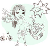 Summer picnic cartoon with funny girl — Stock Vector