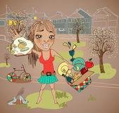 Caricature de pique-nique d'été avec Grandhomme — Vecteur