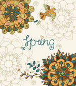 Natural floral background with Spring lettering — Vector de stock
