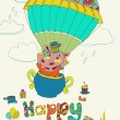 Happy birthday colorful background with funny hippopotamus — Stock Vector