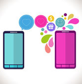 Mobile phone with icons, Colorful Concept of communication, love — Stock Vector