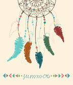 Color American Indians dreamcatcher with bird feathers and geome — Stock Vector