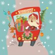 Funny Christmas background with Santa Clause and deer in bus — Stock Vector