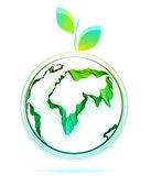 Globe abstract icon with green leaf — Cтоковый вектор