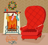 Color retro room with fireplace, and big soft chair for Christma — Stock Vector