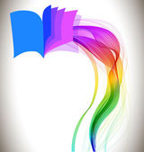 Abstract colorful background book icon and wave — ストックベクタ