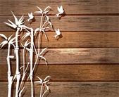 Beyaz bambu ve ahşap arka plan üzerinde kuşlar — Stok Vektör