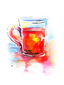 Background with painted watercolor tea in glass — Vector de stock