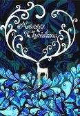Christmas deer with Merry Christmas text — Stock Vector