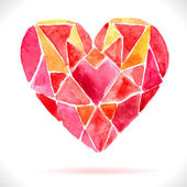 Bright color mosaic watercolor heart — Stockvektor