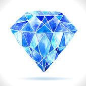Diamante azul hermosa acuarela — Vector de stock