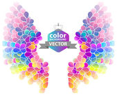 Bright color floral background with wings — Stock Vector