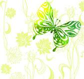 Fondo de color verde con flores y mariposas acuarelas — Vector de stock