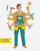 Retro cartoon Handyman with different tools — Stock Vector