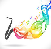 Dark gray saxophone icon with color abstract wave — Stock vektor