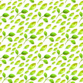 Watercolor seamless pattern with green leaf — Stock Photo