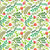 Pattern with green leaf and red flowers — Stock Photo
