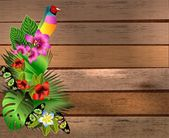 Tropical flowers and leaves and beautiful butterfly over wood, b — Vector de stock