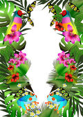 Tropical flowers and leaves and beautiful butterfly, bird and fr — Stock Vector