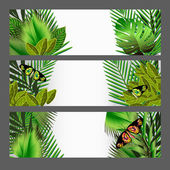 Tropical green leaves illustration set — Stock Vector