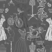 Vintage Seamless pattern - fashion and sewing — Vetorial Stock