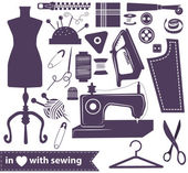 Sewing related elements over white — 图库矢量图片