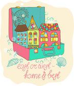 Dos desenhos de cores em casa — Vetor de Stock