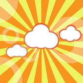 Random Fluffy Clouds and Sunny Sky — Stock Vector