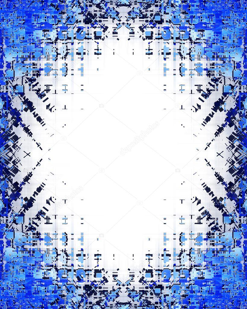 蓝框背景抽象