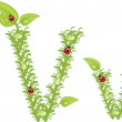 Ecological alphabet, green floral letter with ladybird, vector — Stock vektor