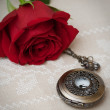 Stock Photo: Pocket Watches and Rose