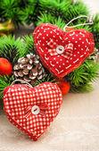 Handgemaakte harten voor christmas decor — Stockfoto