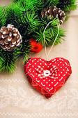 手工制作心的圣诞装饰 — 图库照片