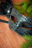 Spruce branches and carnival mask — Stock Photo