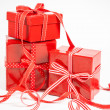 Red boxes with gifts — ストック写真