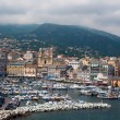 Old port and church of St John the Baptist in Bastia. Corsica, France. — Stock Photo