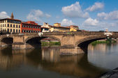 The Ponte Santa Trinita (Holy Trinity Bridge) is a Renaissance bridge in Florence, Tuscany, Italy. — Stock Photo