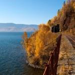 The Circum-Baikal Railway - historical railway runs along Lake baikal — Stock Photo #29526283