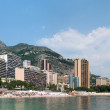 Public sandy beach and coastline in Monaco — Stock Photo