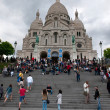 Basilique du Sacre-Coeur (Basilica of the Sacred Heart), Paris, France. Every evening the set of people comes on a stairway at a cathedral and admires evening Paris — Stock Photo #29654231