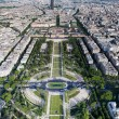 Stock Photo: Aerial view on Champ de Mars and Ecole Militaire from Eiffel tower