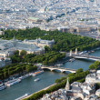 Aerial view on river Seine and Paris from Eiffel tower — Stockfoto