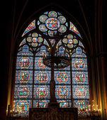 Glasraam in de notre dame kathedraal, paris, frankrijk — Stockfoto
