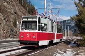 Tramway line for working staff of Sayano-Shushenskaya hydroelectric power station — Stock Photo