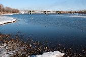 View on Krasnoyarsk and bridge over the Enisei river — Stock Photo