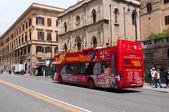 Tourist bus on street of Palermo — Stock Photo