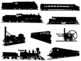 Collection of silhouettes of engines and trains — Stock Vector