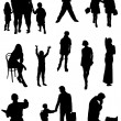 Collection of silhouettes of people  — Stock Vector