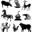 Big collection of icons of animals  — Stock Vector